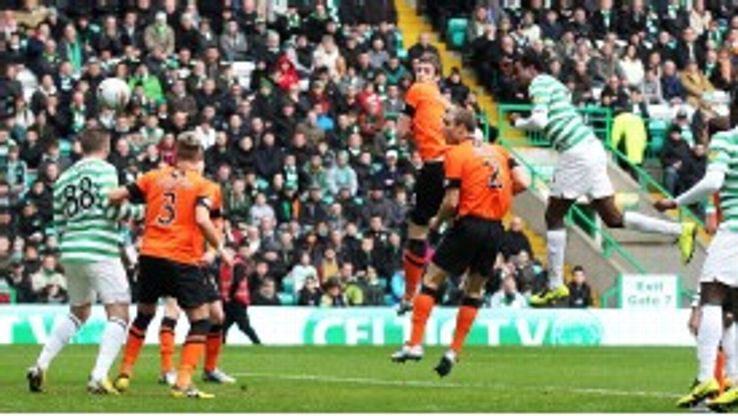 Efe Ambrose scores the first goal