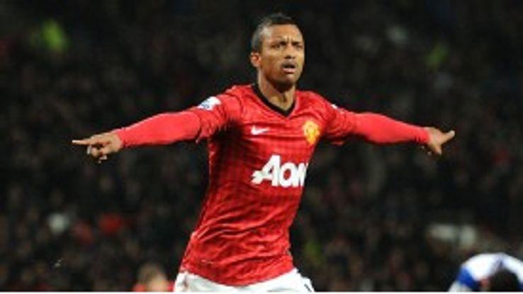 Nani celebrates breaking the deadlock for Manchester United against Reading