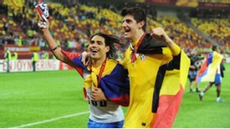 Thibaut Courtois and Falcao won the Europa League and UEFA Super Cup together with Atletico Madrid in 2012