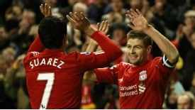 Steven Gerrard believes Luis Suarez has been the finest player in the Premier League this season