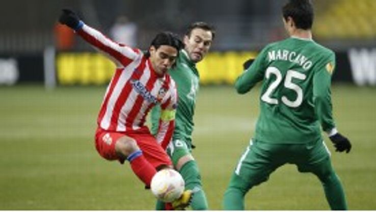 Radamel Falcao scored for Atletico Madrid as they exited the Europa League at the hands of Rubin Kazan