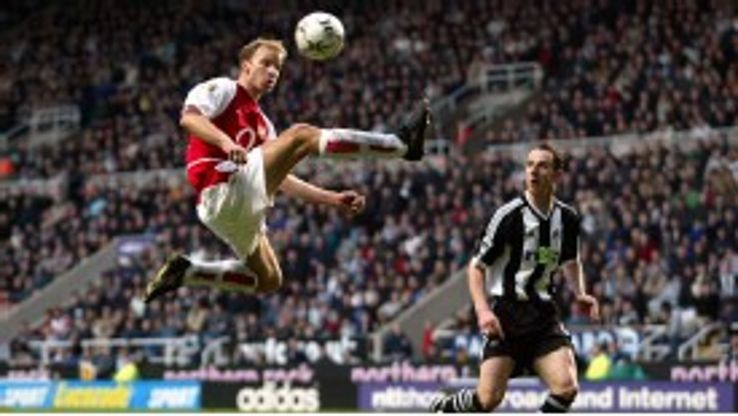 Dennis Bergkamp brings the ball under control against Newcastle in 2003