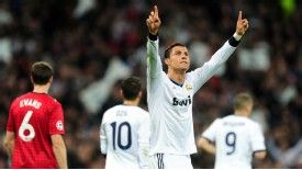 Cristiano Ronaldo celebrates after equalising against Manchester United