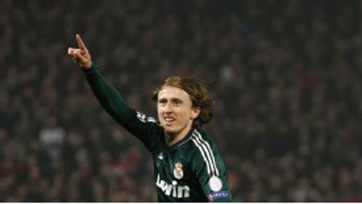 Luka Modric celebrates his goal against Manchester United for Real Madrid