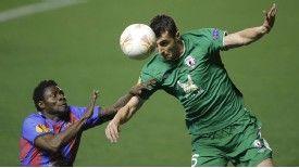 Levante's Obafemi Martins vies with Rubin Kazan's Ivan Marcano