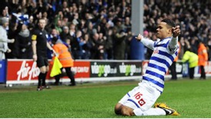 Jermaine Jenas celebrates after scoring his first Premier League goal for three and a half years