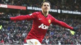 Javier Hernandez celebrates after putting Man United in front after only five minutes against Chelsea