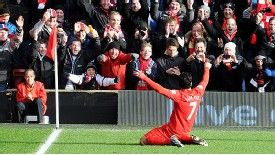 Luis Suarez has celebrated 22 league goals for Liverpool