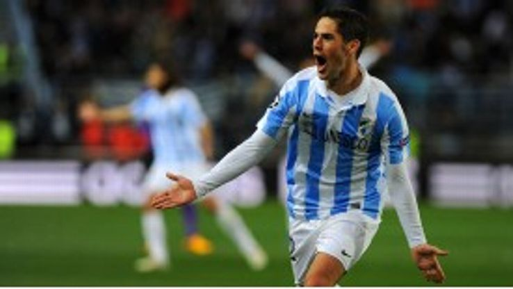 Isco celebrates giving Malaga the lead on the brink of half-time