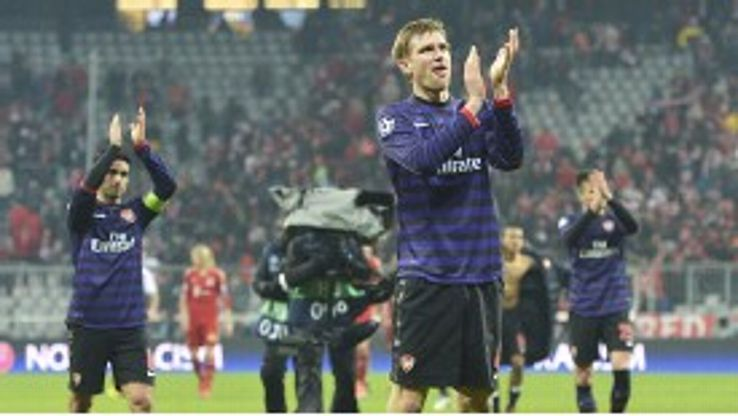 Per Mertesacker leads applause at full-time as Arsenal came so close to ousting Bayern Munich