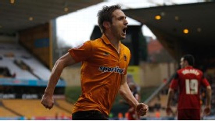 Kevin Doyle celebrates after scoring what proved to be the winner for Wolves
