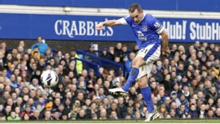 Leon Osman fires Everton into the lead against Manchester City