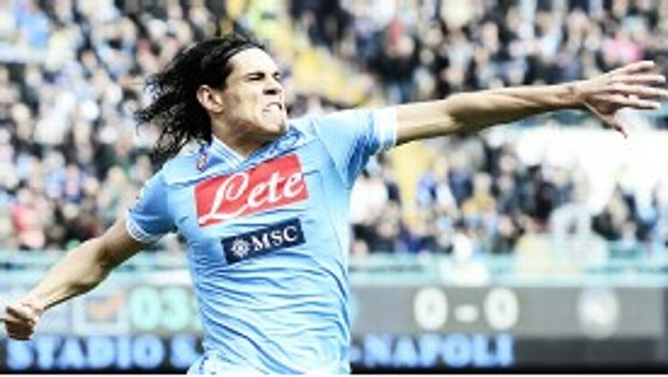 Edinson Cavani celebrates after scoring one of his two goals in Napoli's thrilling 3-2 win at home to Atalanta