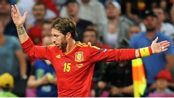 Sergio Ramos is set for his 100th Spain cap against Finland