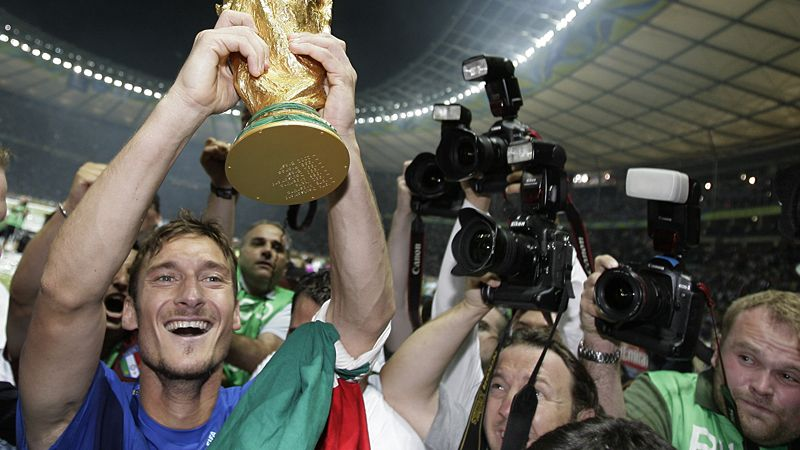 Italy's Francesco Totti lifts the 2006 World Cup