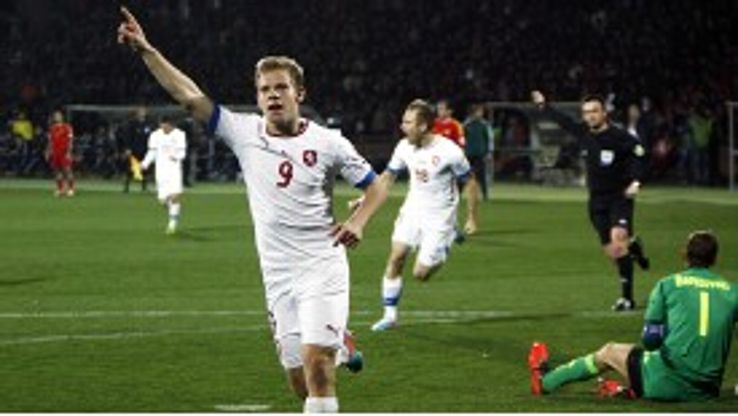 Matej Vydra celebrates one of his two goals in Czech Republic's 3-0 win at Armenia