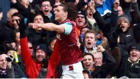 Andy Carroll celebrates his brace
