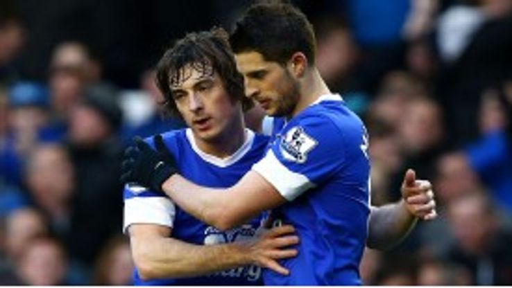 Kevin Mirallas is congratulated on his superb solo goal by Leighton Baines
