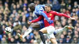 Demba Ba in action for Chelsea against Man United