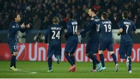 Paris Saint-Germain celebrate after drawing level at 1-1 through Zlatan Ibrahimovic