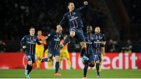 Ibrahimovic scored against Barca at the Parc des Princes