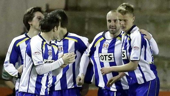 Kris Boyd celebrates with his team-mates after netting the equaliser