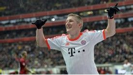 Bastian Schweinsteiger celebrates after breaking the deadlock for Bayern