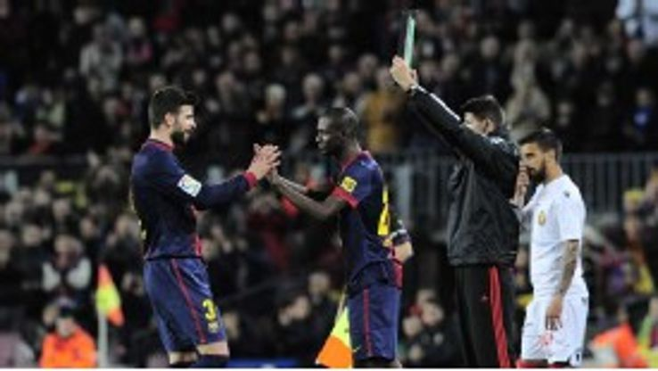 Eric Abidal made his long-awaited return to action as he replaced Gerard Pique in the 70th minute