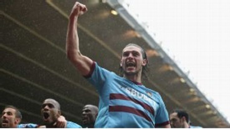 Andy Carroll celebrates after levelling for West Ham