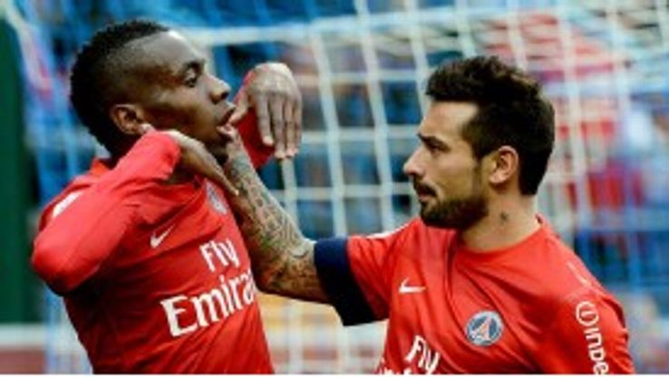 Blaise Matuidi celebrates with Ezequiel Lavezzi after netting the only goal against Troyes