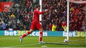 Gaston Ramirez celebrates giving Southampton the lead against West Ham