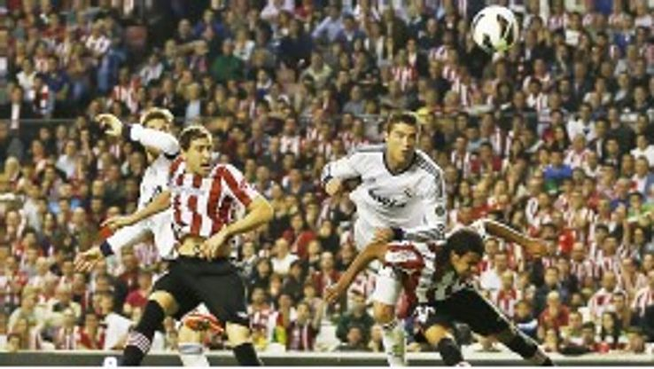 Cristiano Ronaldo scores his second goal against Athletic Bilbao on Sunday