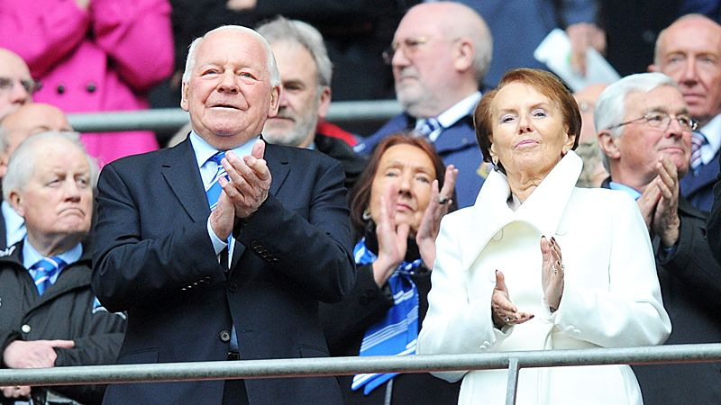 Dave Whelan with wife Pat at Wembley on Sunday. Apparently Dave played here once