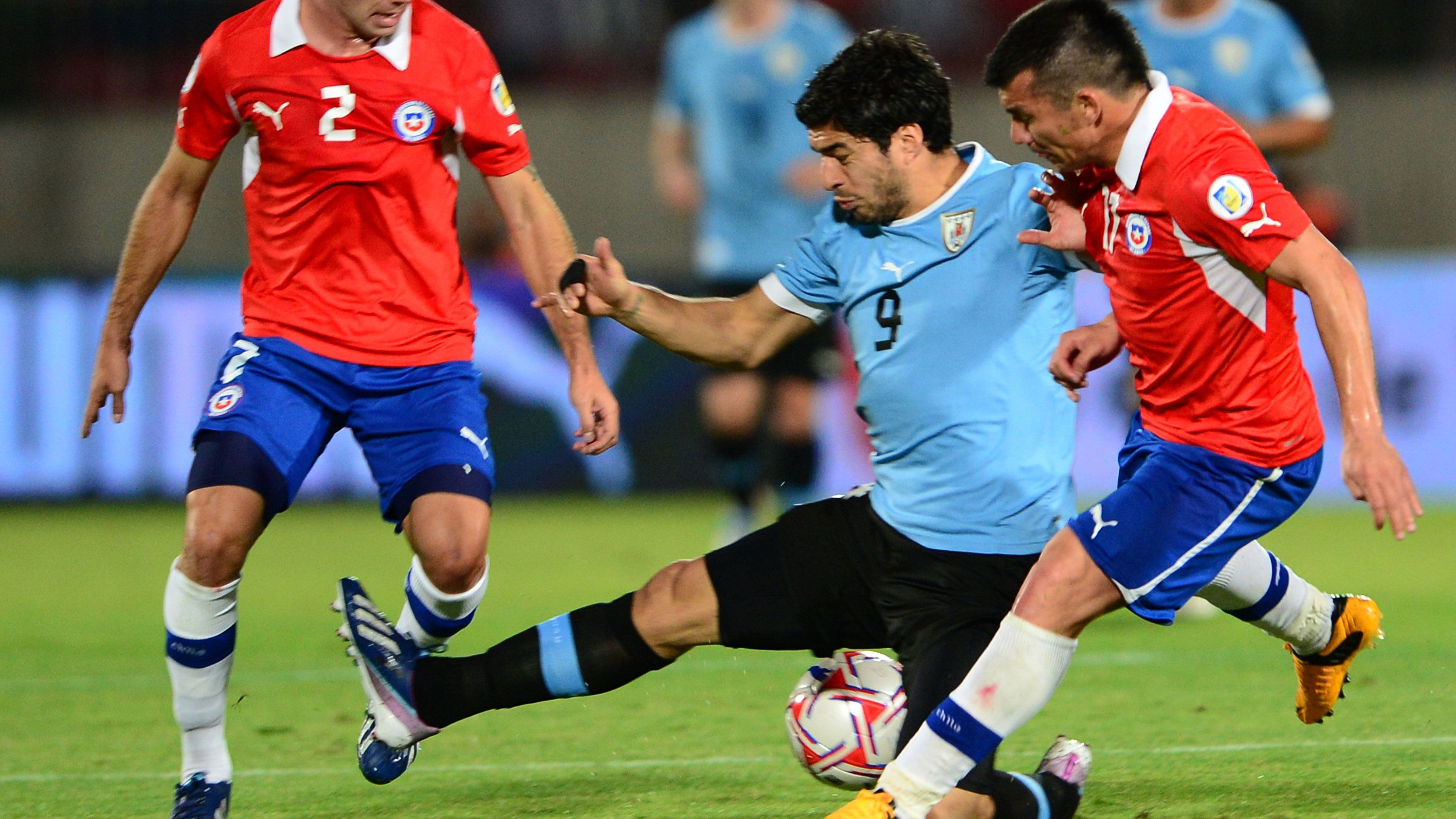 Suarez punched Chile defender Gonzalo Jara off the ball during a World Cup qualifier