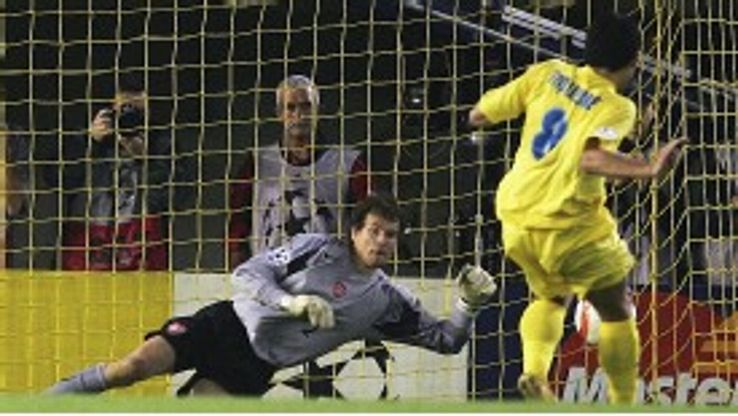 Jens Lehmann saves Juan Roman Riquelme penalty in 2006 which sealed Arsenal's place in the Champions League final