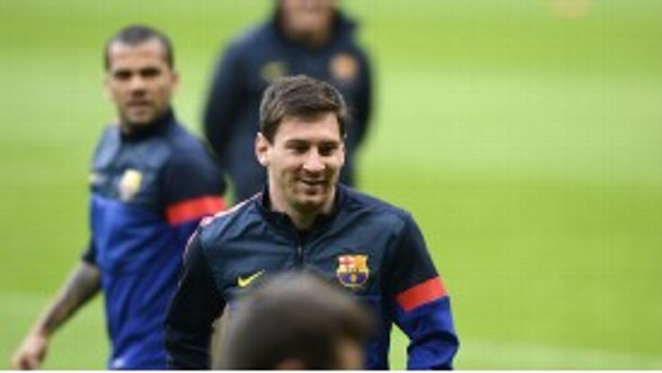 Lionel Messi in training ahead of Barcelona's clash with Bayern