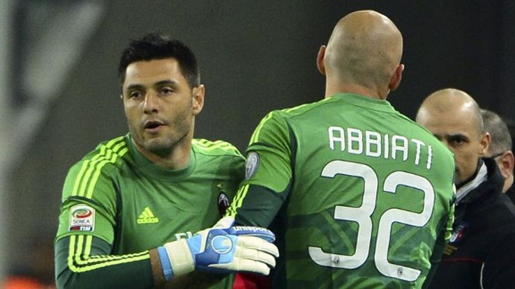Marco Amelia replaced Christian Abbiati 15 minutes into the defeat at Juventus