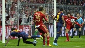 Mario Gomez scores for Bayern Munich against Barcelona