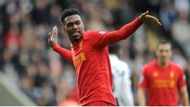 Daniel Sturridge celebrates after putting Liverpool 3-0 up