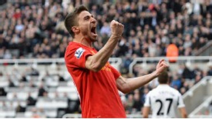 Fabio Borini celebrates after coming off the bench to score his first Premier League goal for Liverpool