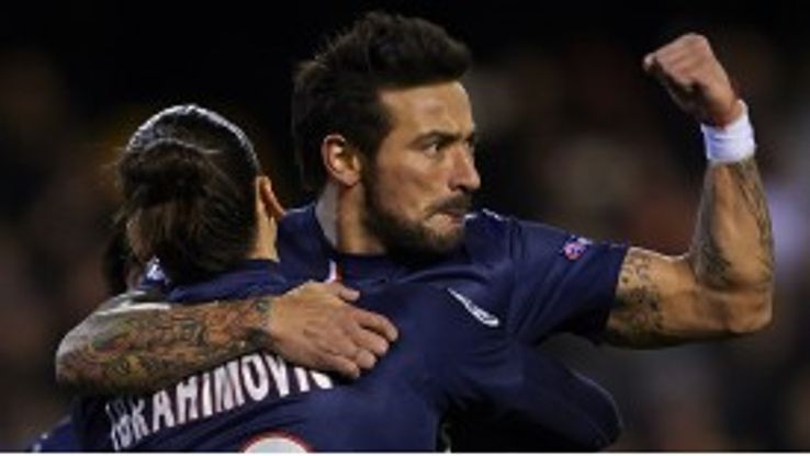 Ezequiel Lavezzi celebrates after scoring against Valencia