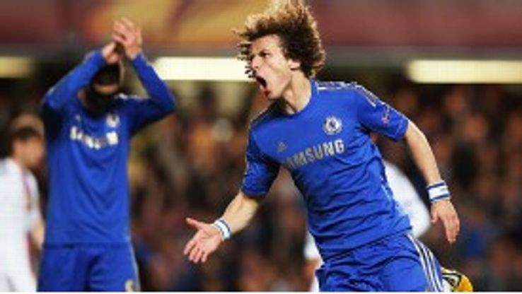 Fernando Torres applauds David Luiz after his stunning goal put the tie with Basel beyond doubt
