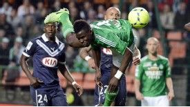 Kurt Zouma makes a clearance during St Etienne's draw with Bordeaux