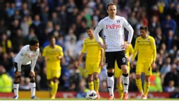 Dimitar Berbatov shows his frustration during Fulham's 4-2 defeat to Reading