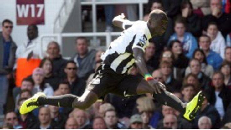 Newcastle striker Papiss Cisse sees a shot saved against West Ham