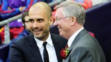 Pep Guardiola and Sir Alex Ferguson embrace before the 2011 Champions League final, but Guardiola's Barcelona lifted the trophy against United in 2009 and 2011.