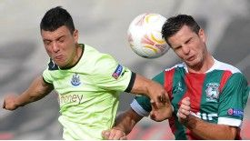 Maritimo defender Valentin Roberge (R) could be on his way to Sunderland..
