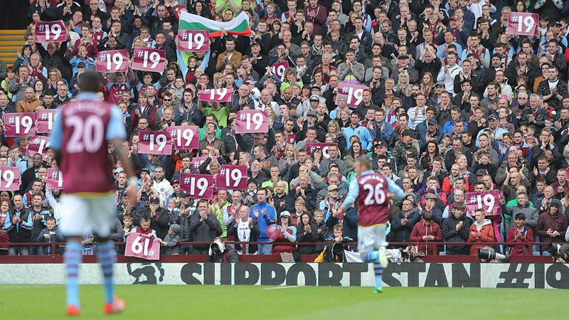The Villa Park faithful show their support to Stiliyan Petrov, who has been battling against acute leukaemia