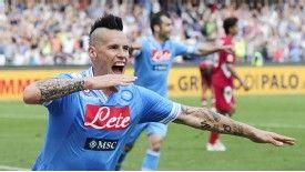 Marek Hamsik celebrates his late winner for Napoli