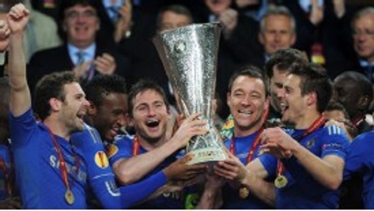 Chelsea celebrate their Europa League triumph